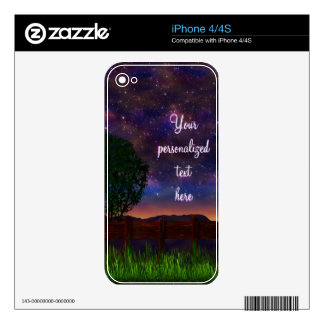 Starry Night Landscape - with customizable text - Skins For The iPhone 4S