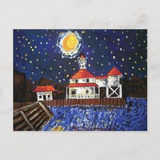 Starry Night Light House postcard