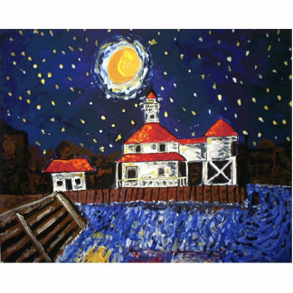 Starry Night Light House Statuette