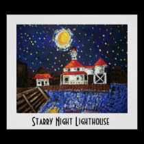 Starry Night Lighthouse posters