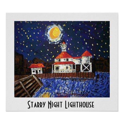Starry Night Lighthouse Poster