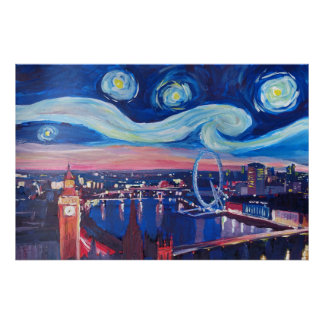Starry night London - Van Gogh inspired Poster