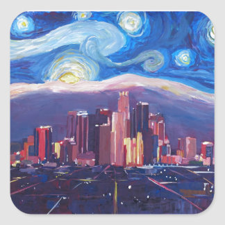 Starry Night Los Angeles California Square Sticker
