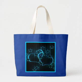 Starry Night Lovers Black Royal Blue Large Tote Bag