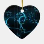 Starry Night Lovers Blue Black Double-Sided Heart Ceramic Christmas Ornament
