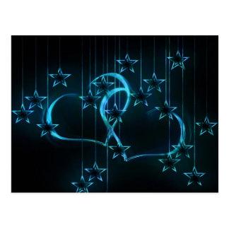 Starry Night Lovers Blue Black Postcard