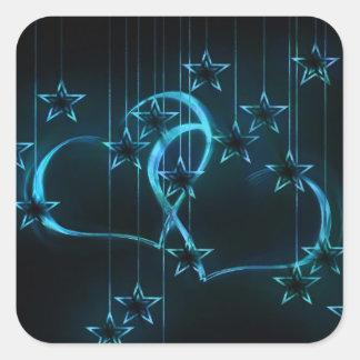 Starry Night Lovers Blue Black Square Sticker