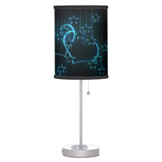 Starry Night Lovers Blue Black Table Lamp