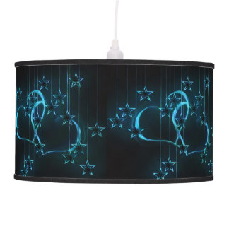 Starry Night Lovers Blue on Black Ceiling Lamp