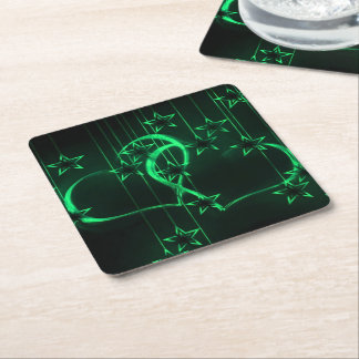 Starry Night Lovers Green and Black Square Paper Coaster