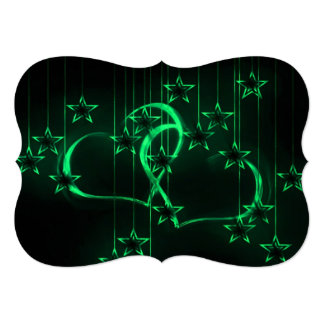 Starry Night Lovers Green Personalized Invite