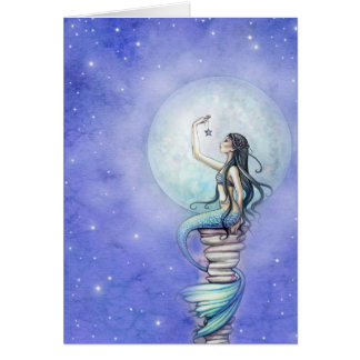 Starry Night Magical Mermaid Blank Card