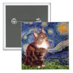Starry Night - Maine Coon cat 12 Pinback Buttons