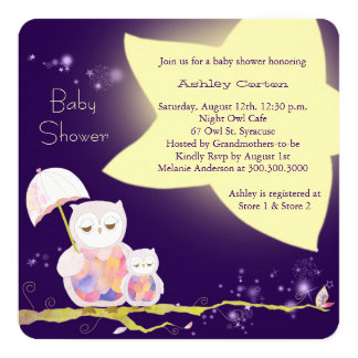 Starry Night Mom & Baby Owls Baby Shower Invites
