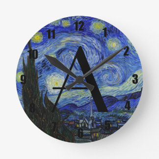 Starry night monogram wallclock