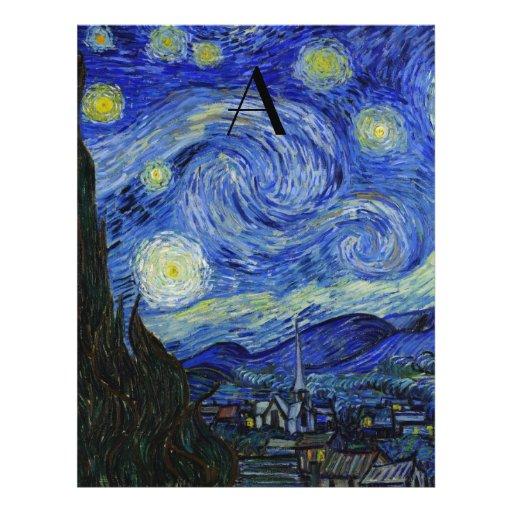 Starry night monogram full color flyer