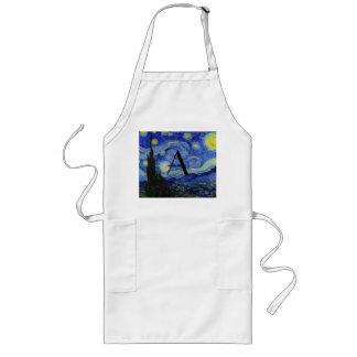 Starry night monogram long apron