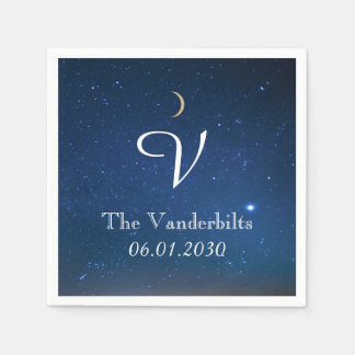 Starry Night Monogram Wedding Napkin