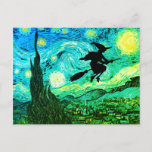 """Starry Night Moon Flying Witch Silhouette Postcard<br><div class=""""desc"""">A witch silhouette on a vintage starry night painting for Halloween.</div>"""