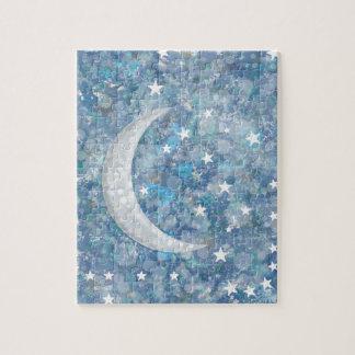 Starry night moon splatter of paint illustration jigsaw puzzle