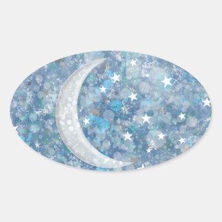 Starry night moon splatter of paint illustration oval sticker