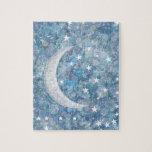 Starry night moon splatter of paint illustration jigsaw puzzles