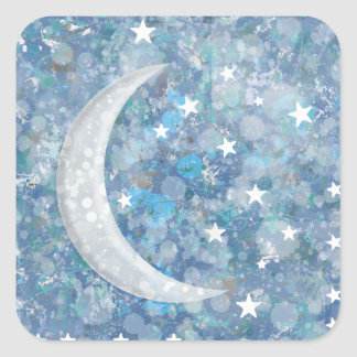 Starry night moon splatter of paint illustration square sticker