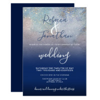 Starry Night Navy and Gold Wedding Invitation