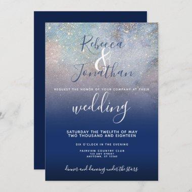 Starry Night Navy and Gold Wedding Invitation