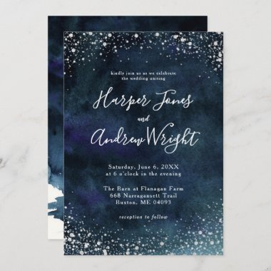 Starry Night Navy Blue Silver Glitter Wedding Invitation