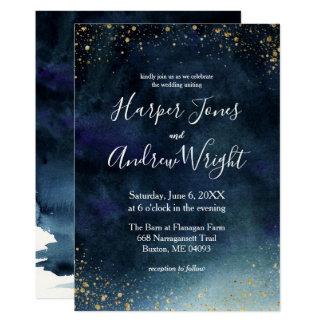 Starry Night Navy Gold Watercolor Wedding Invitation
