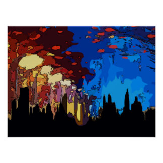 Starry Night New York Abstract Poster