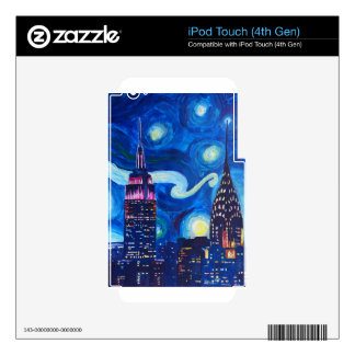 Starry Night New York iPod Touch 4G Decals