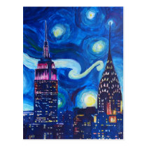 Starry Night New York Postcard