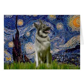 Starry Night - Norwegian Elkhound Greeting Card