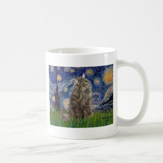 Starry Night - Norwegian Forest Cat Coffee Mugs