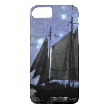 Beach Themed starry night ocean sea sailing ship sailboat iPhone 7 case