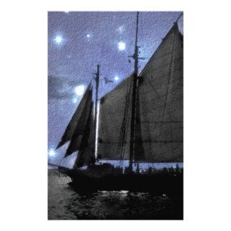 starry night ocean sea sailing ship sailboat stationery