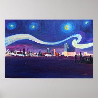 Starry night of Hamburg with Elbe Philharmonic Poster
