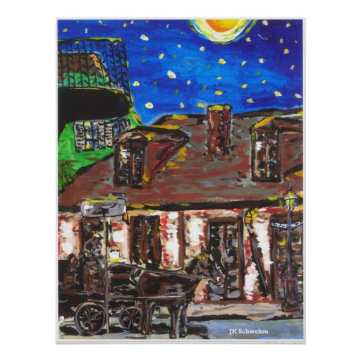 Starry Night Old Black Smith Shop Poster