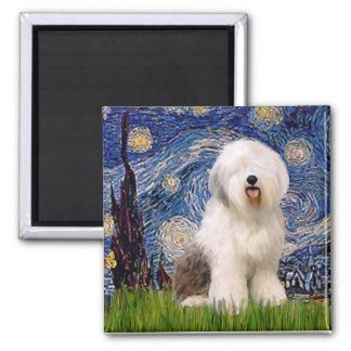 Starry Night - Old English 6 2 Inch Square Magnet
