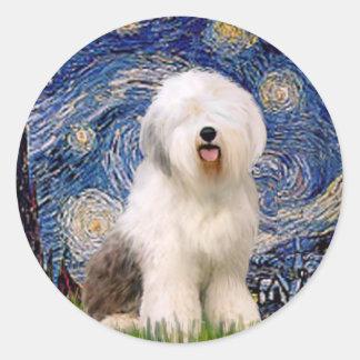 Starry Night - Old English 6 Round Sticker