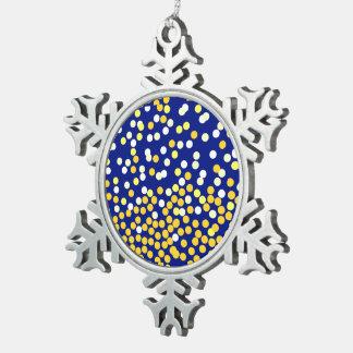 Starry Night on blue XMAS25 Snowflake Pewter Christmas Ornament
