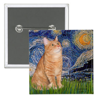 Starry Night - Orange Tabby 46 2 Inch Square Button