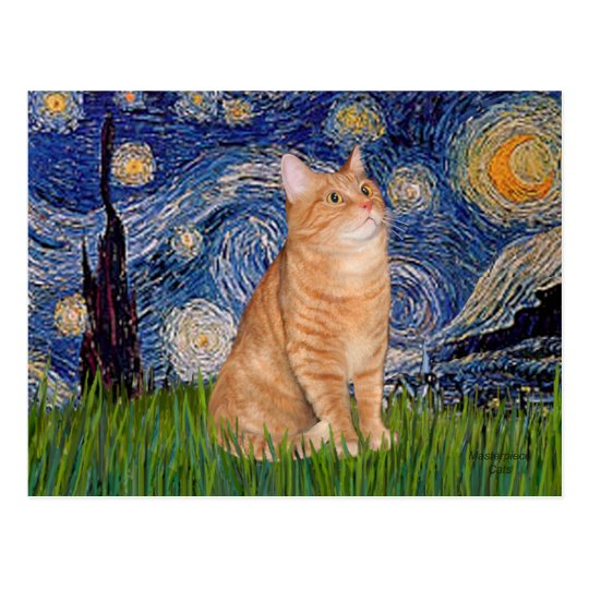 Starry Night - Orange Tabby 46 Postcard