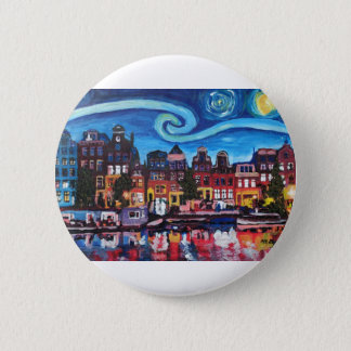 Starry Night over Amsterdam Canal Button