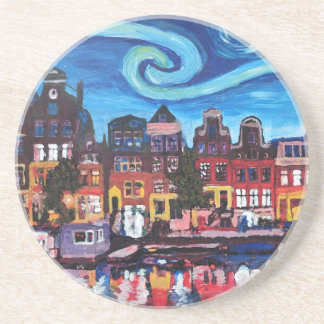 Starry Night over Amsterdam Canal Sandstone Coaster