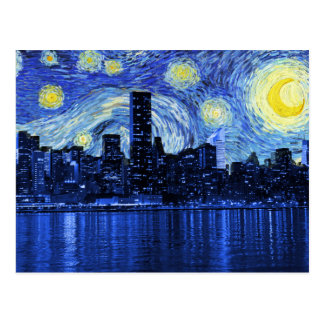 Starry Night Over New York City Postcards