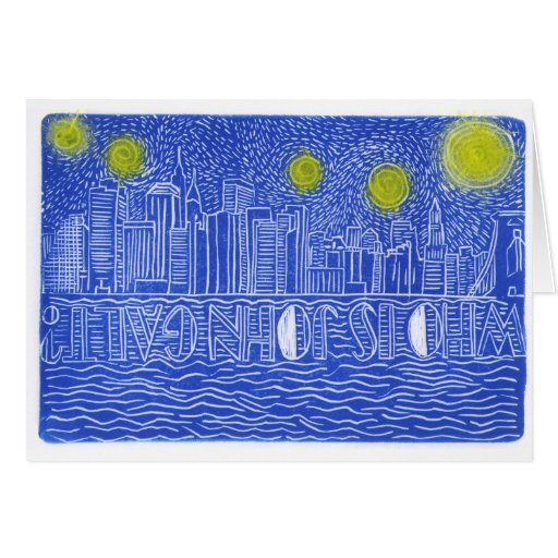 Starry Night Over New York...Who Is John Galt? Greeting Cards