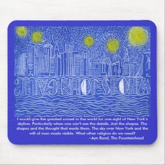 Starry Night Over New York...Who Is John Galt? Mousepads